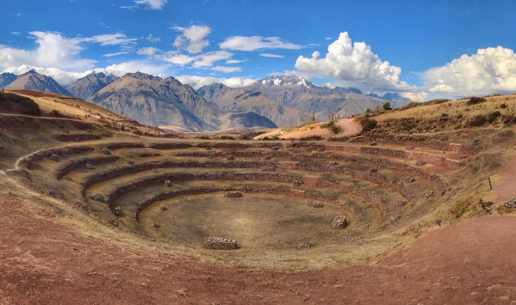 Moray Inca Ruin with the Andes in the background